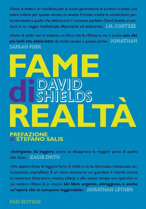 David Shields, Fame di Realtà, copertina